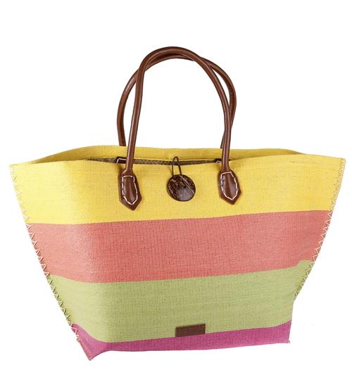 Košík zo sušenej slamy/rafie Kbas s koženými rúčkami a ozdobným zapínaním farebný