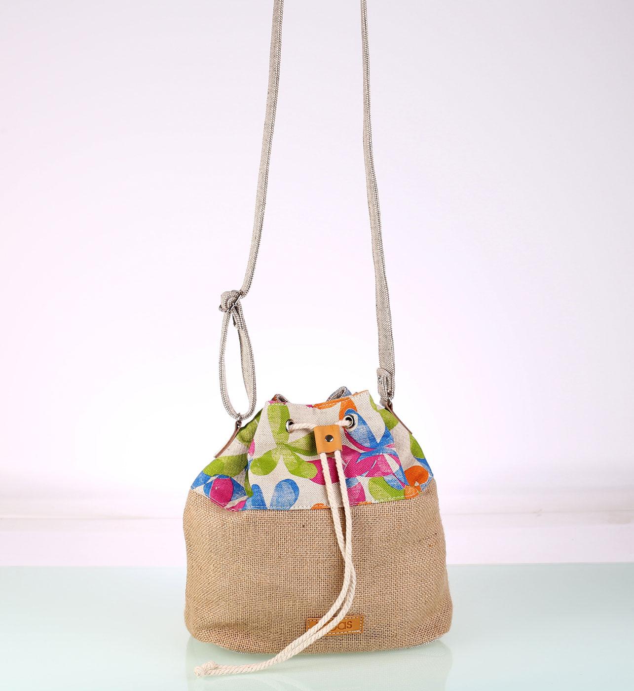 Kabelka Kbas rameno juta plátno batoh kvetinový 4d1971bfba2