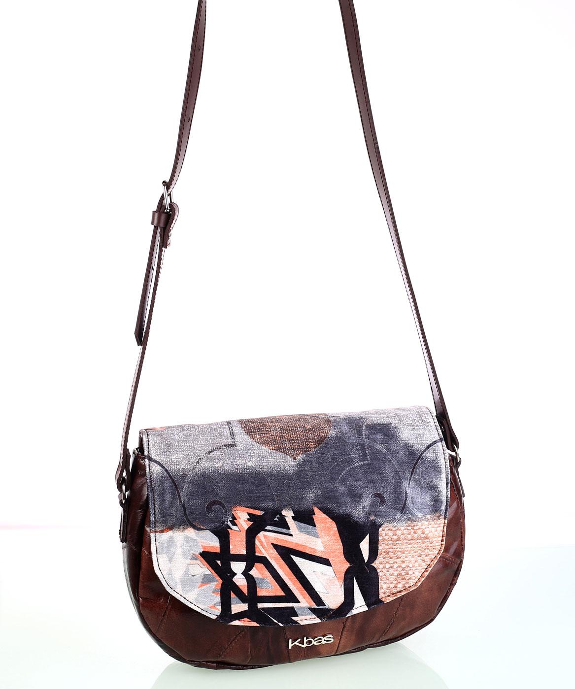 Dámska kabelka cez rameno z kože a plátna Kbas vzorovaná hnedá  ea6b40bc013
