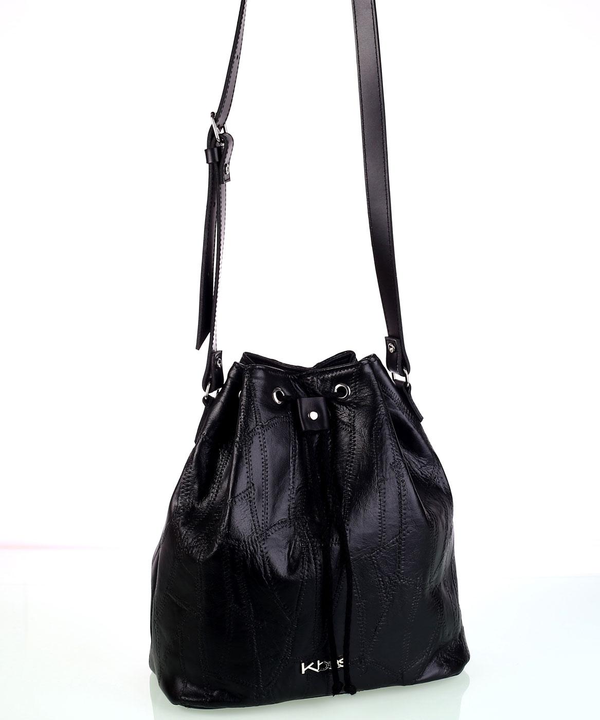 Dámska kožená kabelka cez rameno Kbas so sťahovacím zapínaním čierna ... cc7cd947397