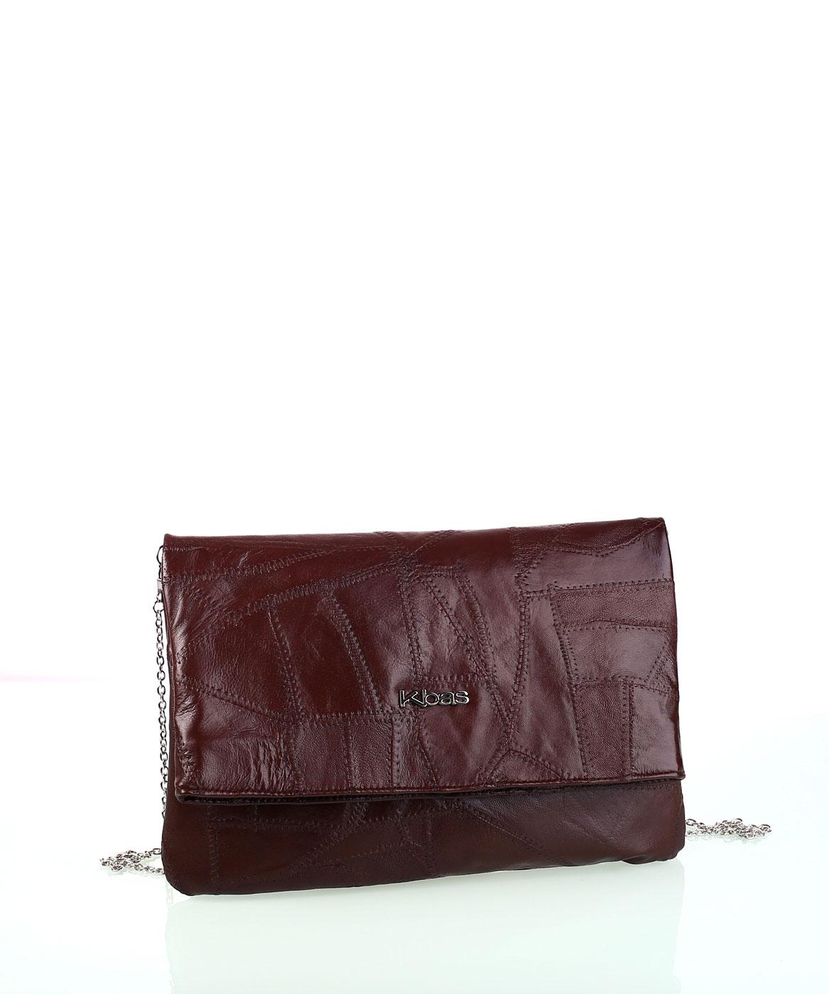 Dámska kožená kabelka s retiazkou cez rameno Kbas hnedá  5e20459e9b5