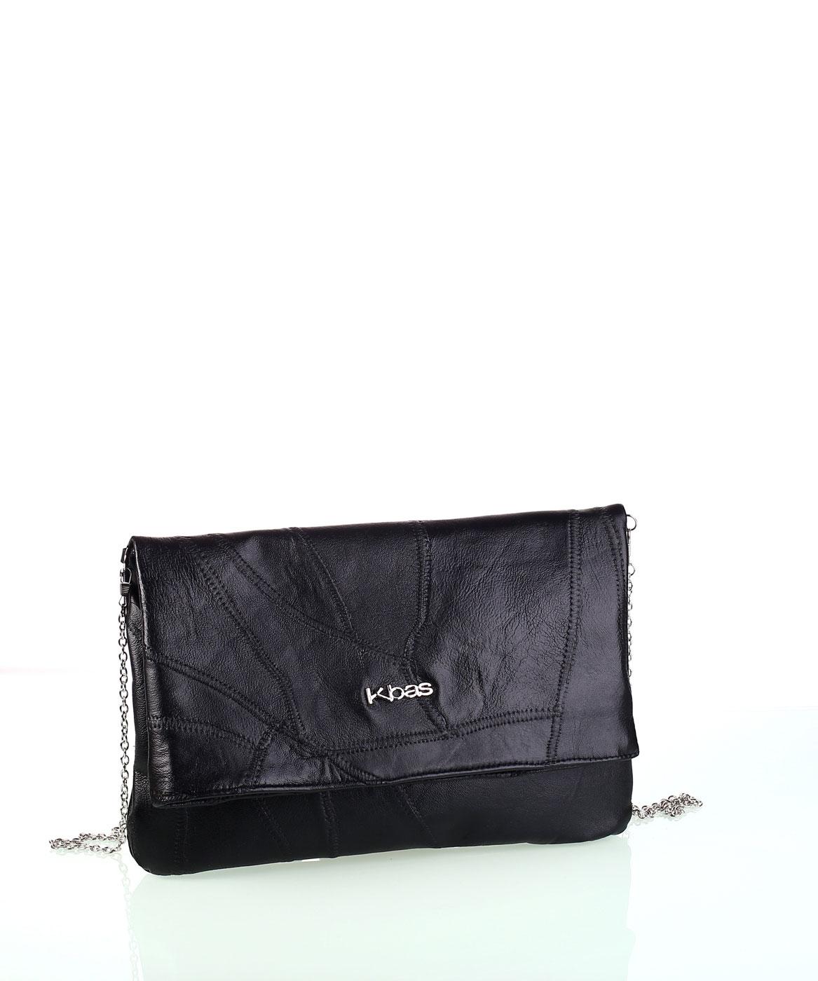 123cc3782 Dámska kožená kabelka s retiazkou cez rameno Kbas čierna | Kbas