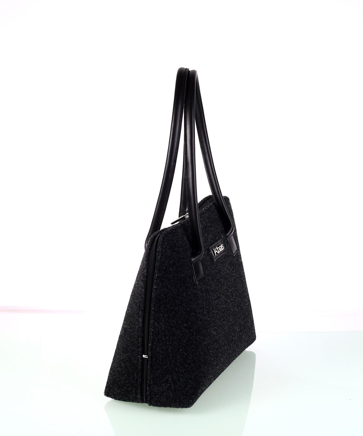 Elegantná dámska kabelka z plste Kbas čierna  4979ad21d79