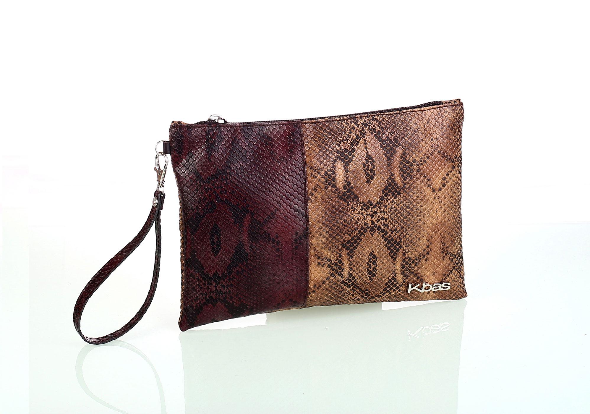 Listová dámska kabelka z eko kože Kbas imitácia hada hnedá  6edaddba043