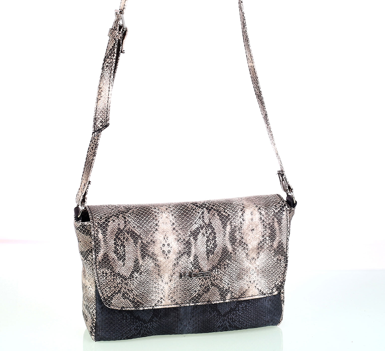 Dámska kabelka cez rameno z eko kože Kbas imitácia hada béžová  f6f4a800f8d