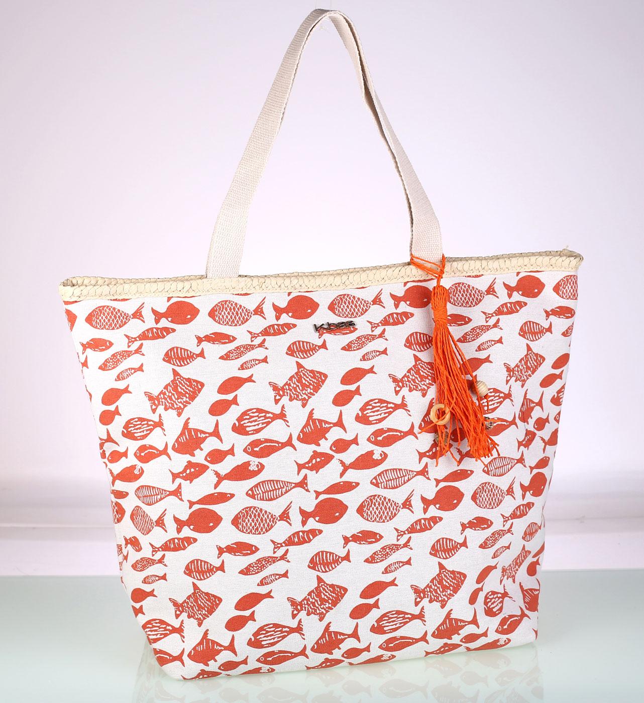 2b0257a96 Plátěná taška na pláž Kbas oranžová