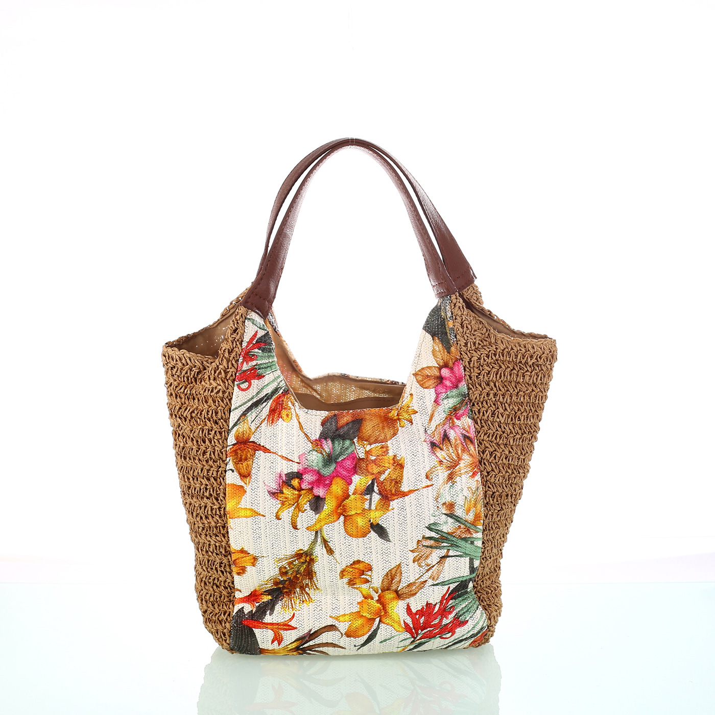 d737492a5 Dámska taška zo syntetickej rafie Kbas s kvetinovým vzorom krémová 215801C