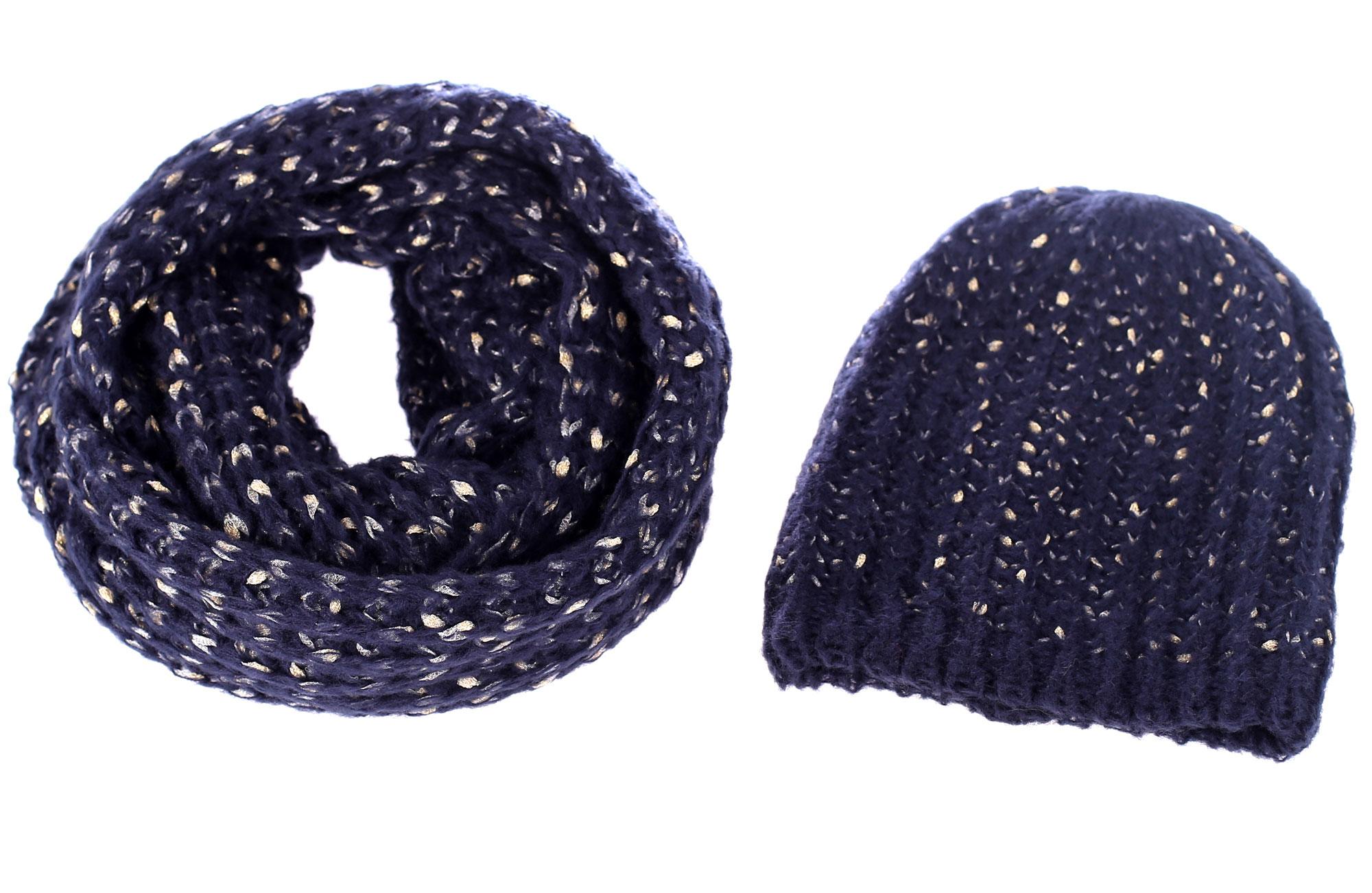 88127f1e1 Set čiapka a šál zo syntetickej vlny Kbas modrý