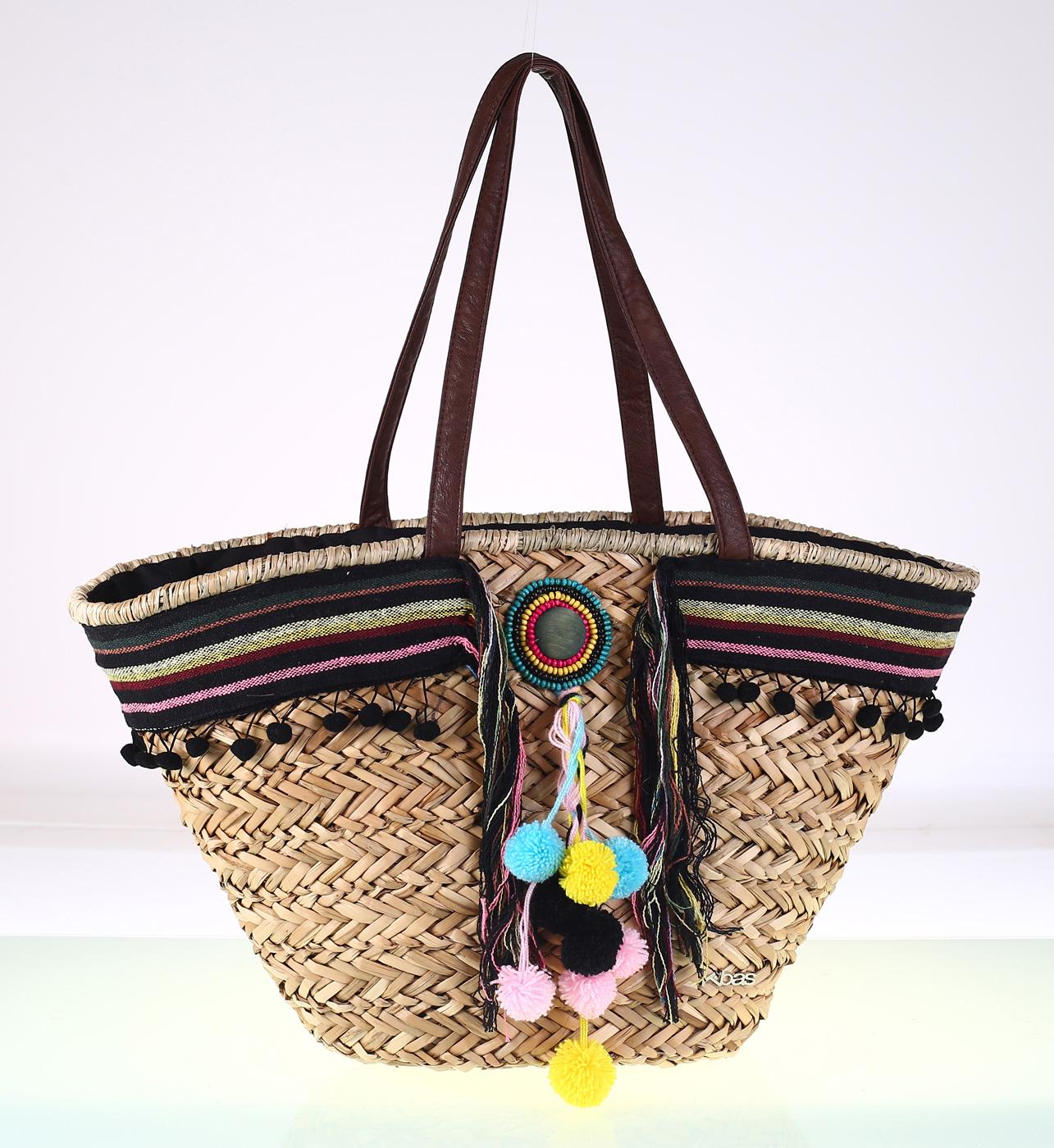 e0dd3723f Dámská slaměná taška s ozdobami Kbas černá 309711N