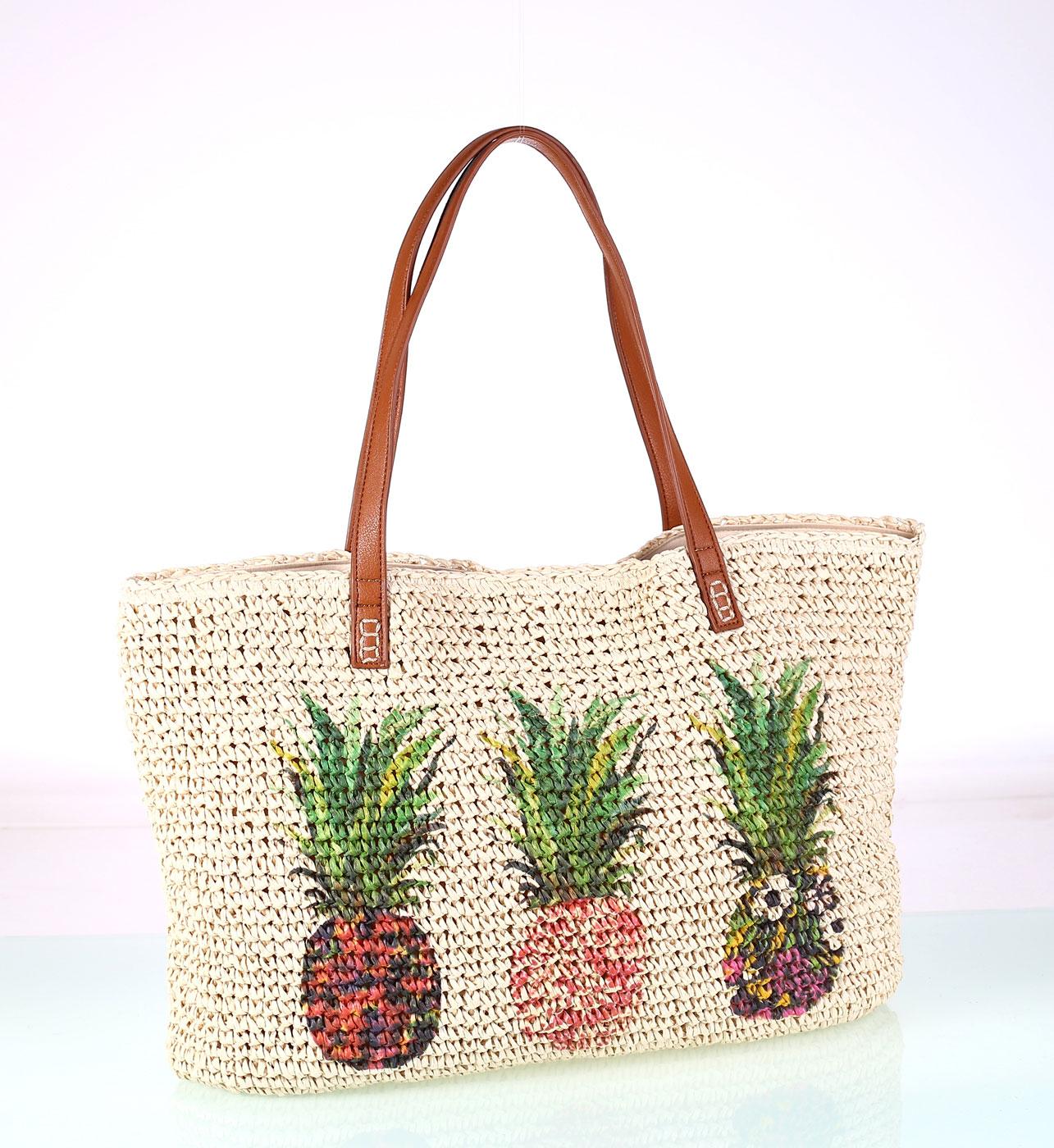 0aec0676c Dámská taška ze syntetické rafie Kbas vzor ananasů 318706