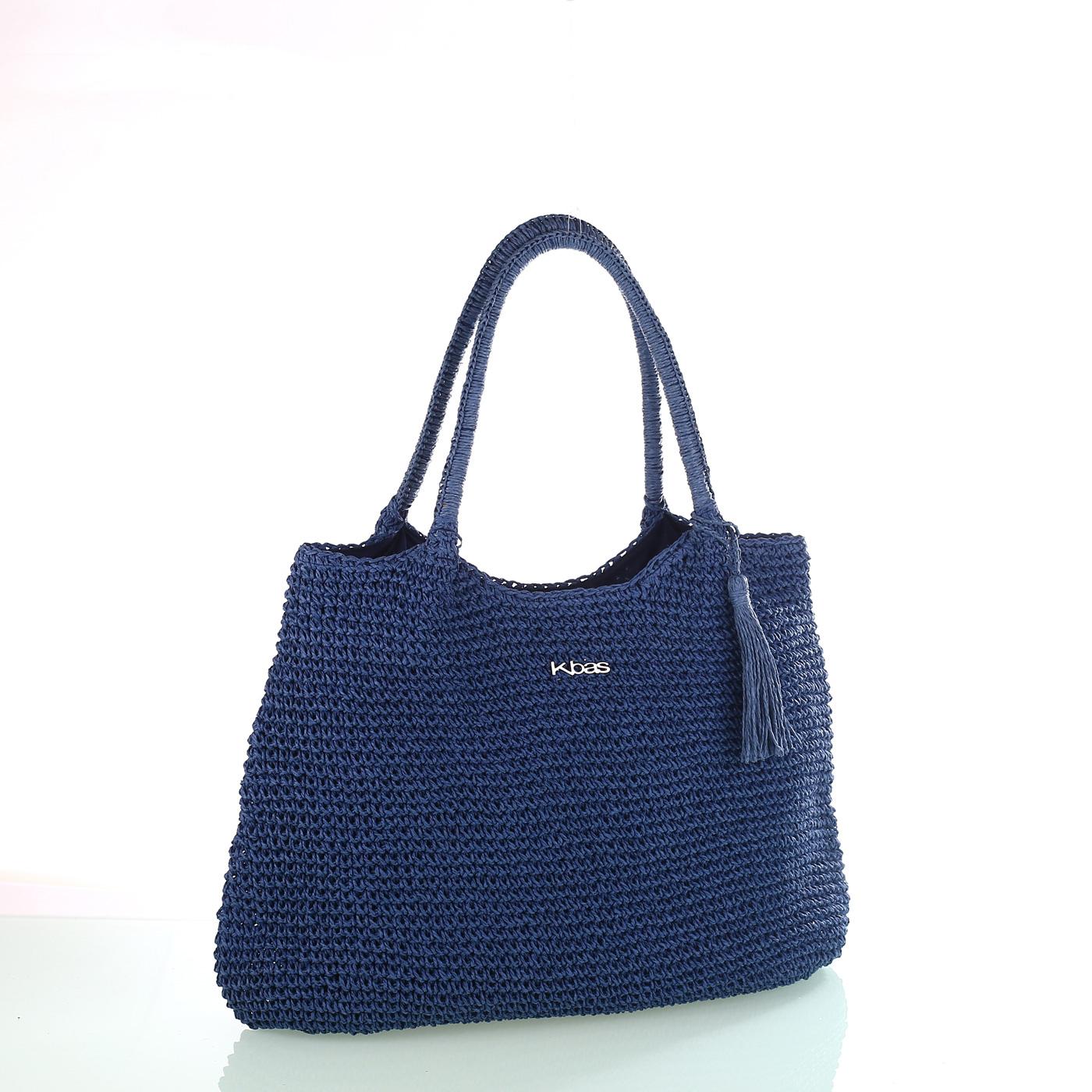 0b3287b08 Dámska taška zo syntetickej rafie Kbas so strapcom modrá 318801AZ | Kbas