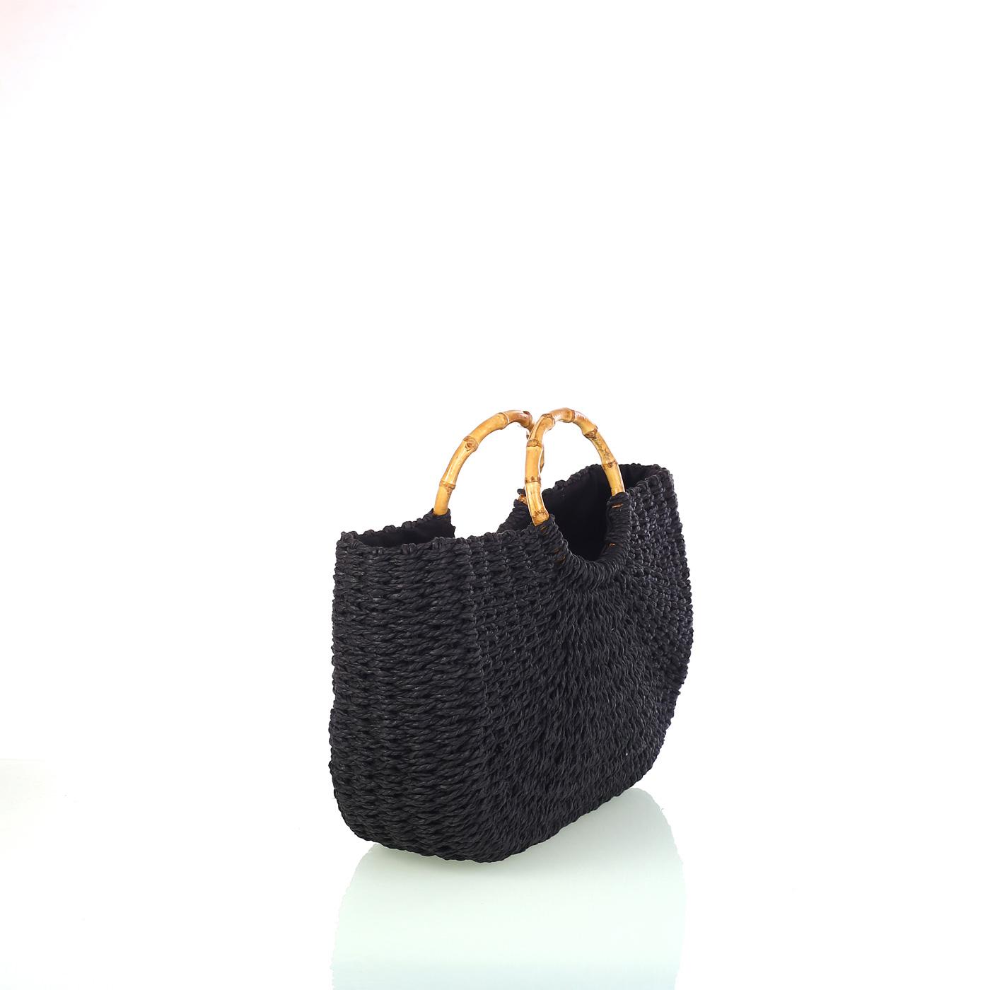 38babe1fb Dámska pletená taška zo syntetickej rafie Kbas čierna 318814N | Kbas