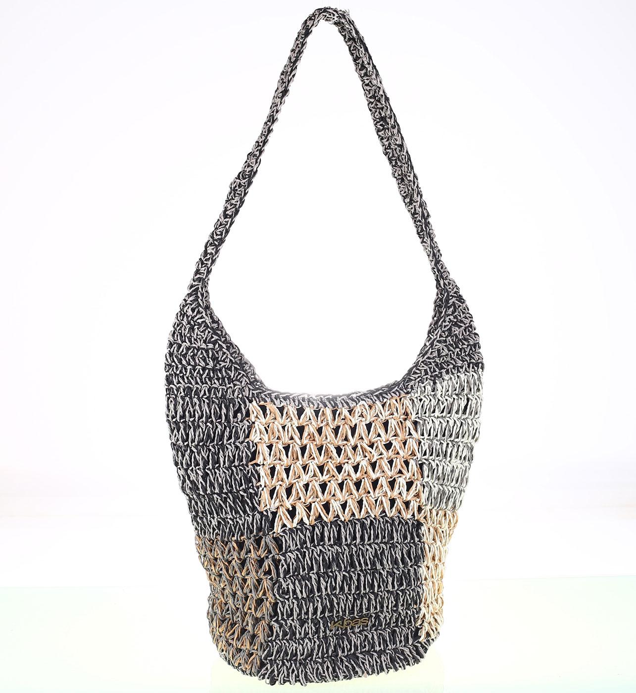 2f85e8b18 Dámska taška zo syntetickej rafie Kbas sivá