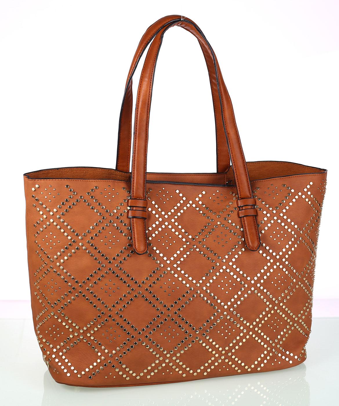 Dámska kabelka z eko kože Kbas s ozdobným vzorom hnedá  b5f46e4c0a4