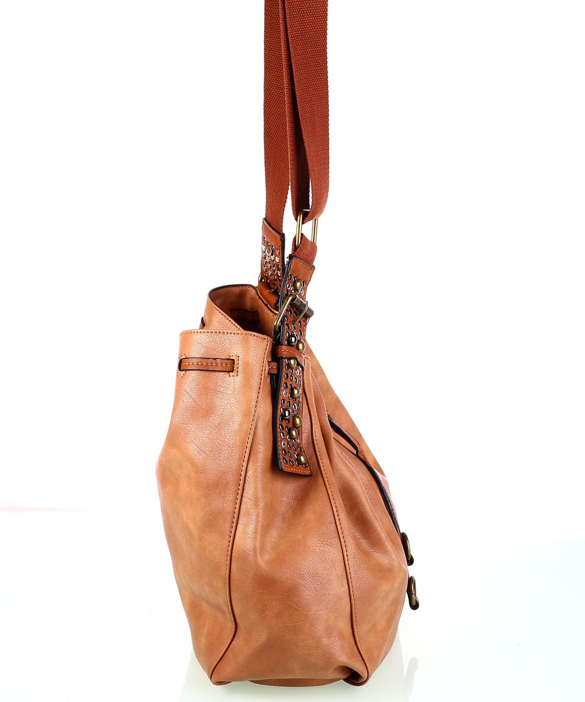 Dámska kabelka cez rameno z eko kože Kbas so sťahovacím zapínaním hnedá cd316fd4ce4