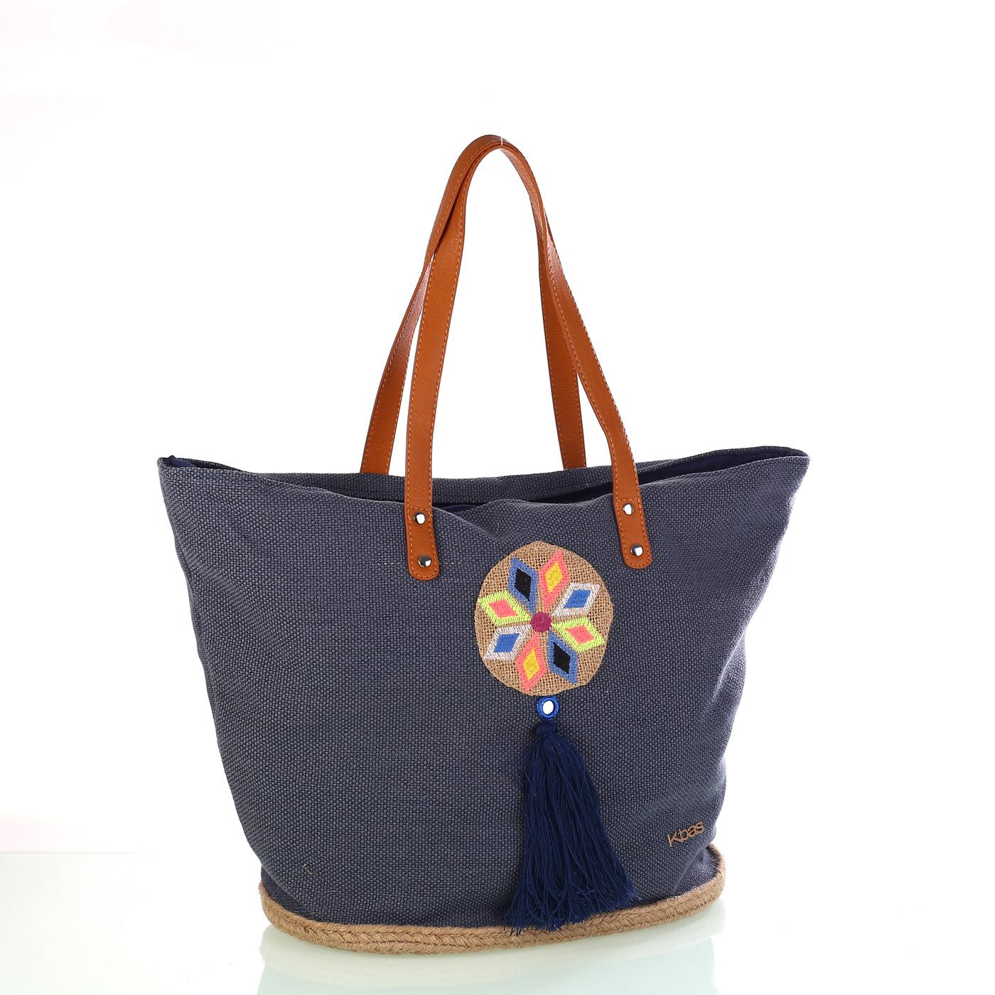 5d073bd736 Dámska pletená taška z juty a bavlny so strapcom Kbas modrá 341811AZ ...