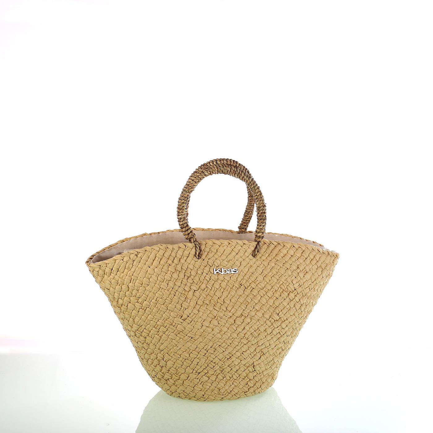 864100c76 Dámska taška zo syntetickej rafie Kbas béžová 341818C | Kbas