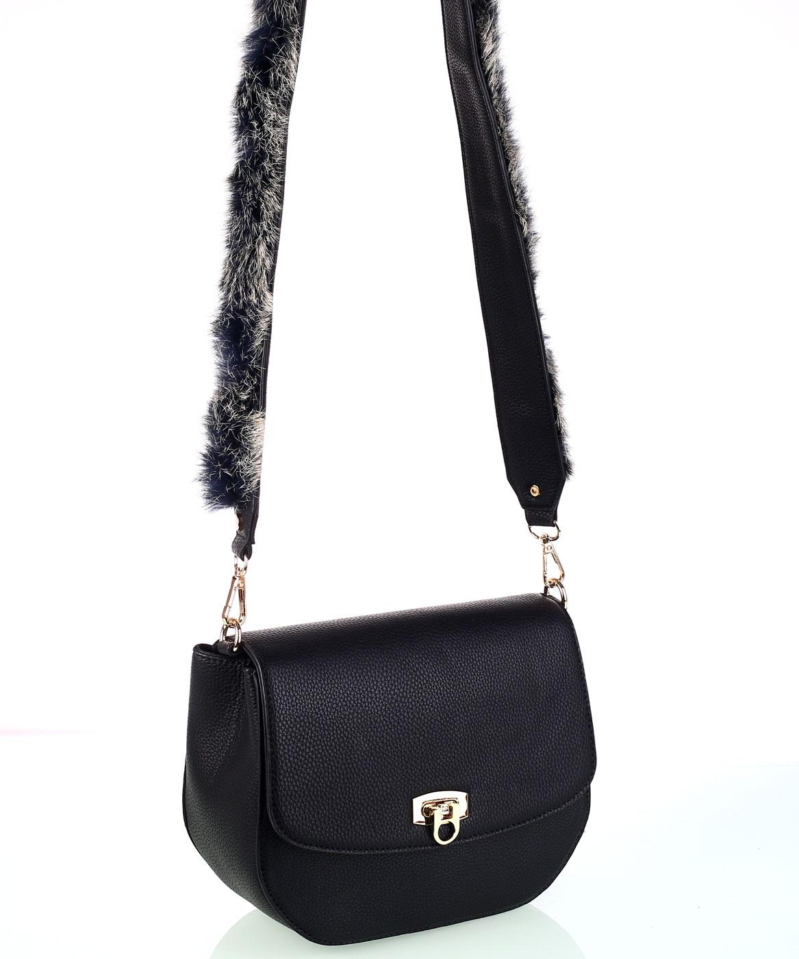 4f2f68cbf8 Dámska kabelka cez rameno z eko kože so zdobeným popruhom čierna