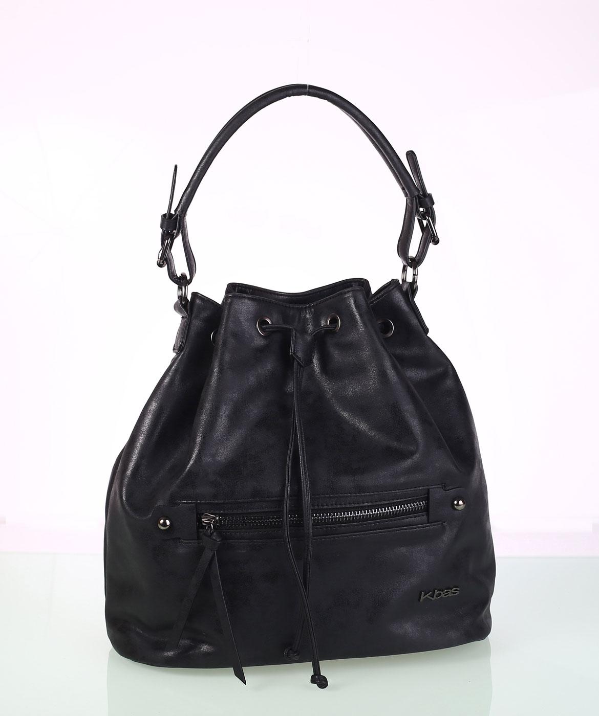c338445e87 Elegáns női táska ekobőrből Kbas fémes visszfénnyel fekete