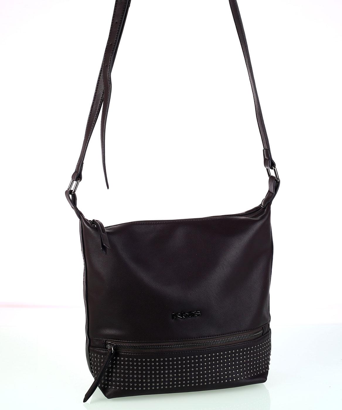 Dámska kabelka cez rameno s predným zipsom hnedá 4aa12621432
