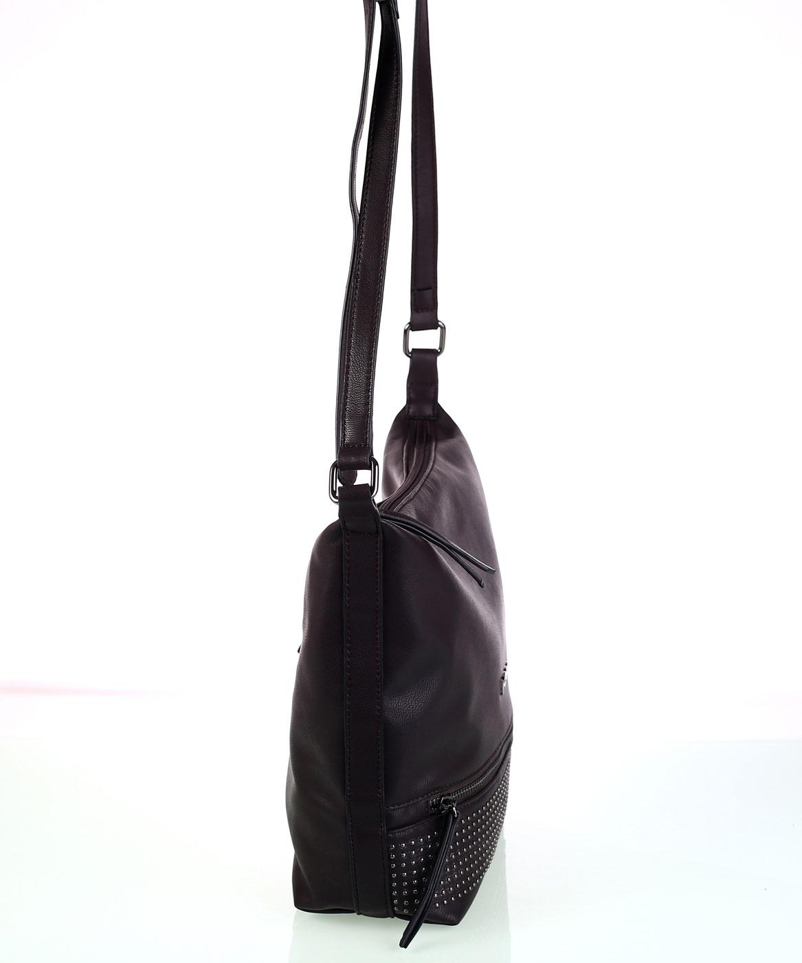 Dámska kabelka cez rameno eko koža Kbas s predným zipsom hnedá 2d9f5cfa425