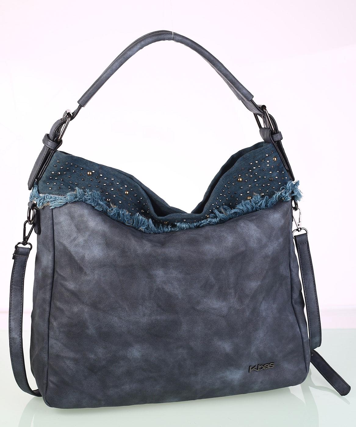 3c5054e98fef Női táska ekobőrből Kbas dekoratív szegecsekkel kék