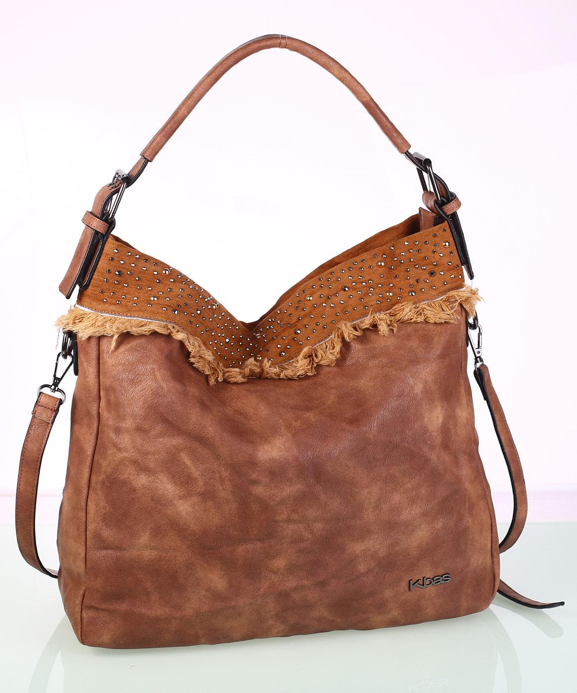 Dámska kabelka eko koža Kbas s ozdobným vybíjaním hnedá  fe675856916