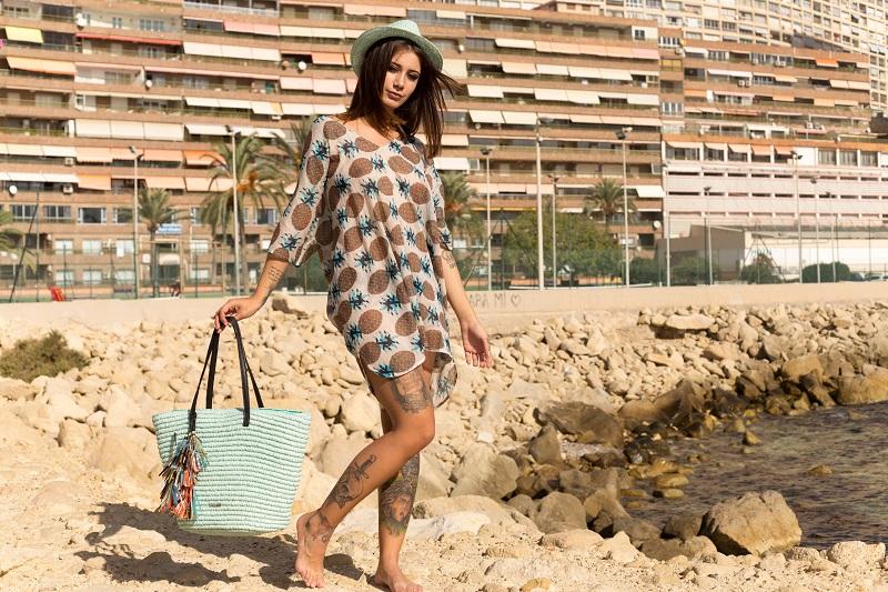 Dámska taška na pláž Kbas tyrkysová
