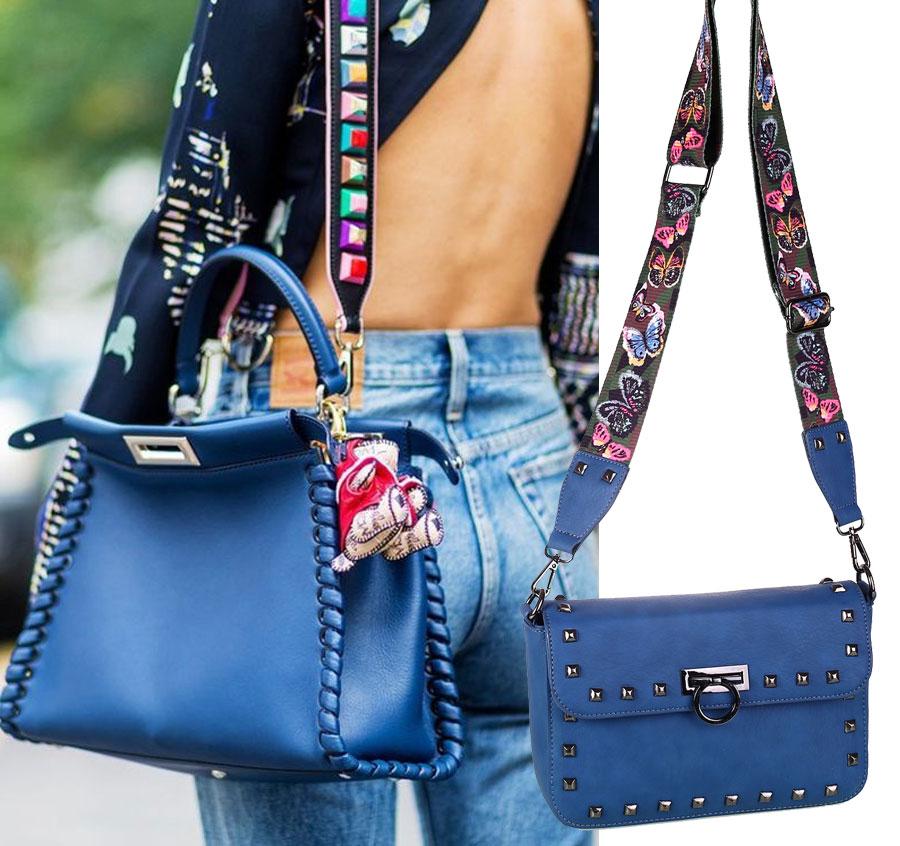 Dámska taška na rameno z polyuretánu Kbas modrá