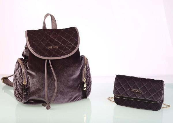 Set zamatový batoh a kabelka