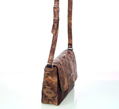 Dámska kabelka cez rameno z eko kože Kbas imitácia hada hnedá 5d3ffe58635