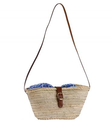 Kbas košík z palmovej slamy cez rameno s podšívkou