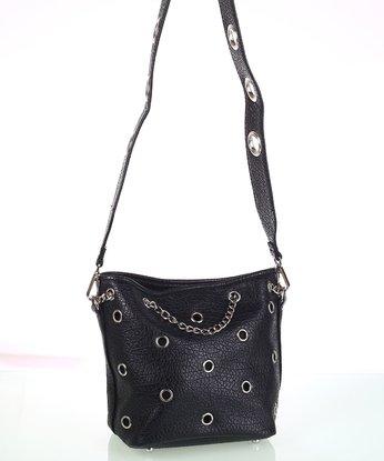 Dámská kabelka přes rameno Kbas s ozdobnými cvoky a řetízkem černá 9c8df98fcc4