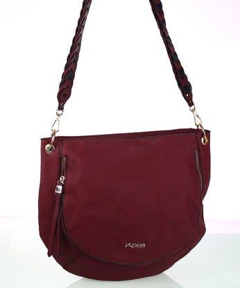 afa5365a6e Dámska kabelka cez rameno s ozdobným popruhom granátová