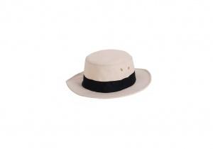 Dámsky plátený klobúk Kbas s čiernou stuhou 001101