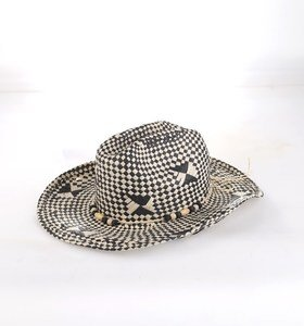 Dámsky klobúk zo syntetickej rafie Kbas s korálkami čierno-biely