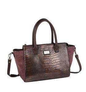 Elegantná kabelka z eko kože Kbas s krokodílím vzorom burgundy