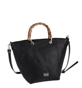 Elegantní kabelka z nepromokavého materiálu Kbas se zipem a bambusovými ručkami černá 305529N