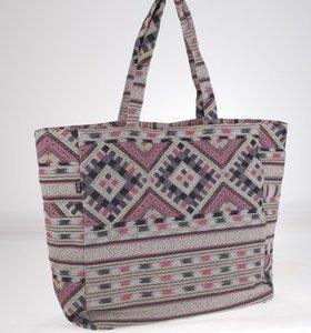 Plátěná taška Kbas s aztéckým vzorem šedo-růžová