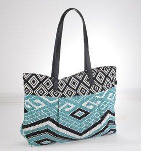 Plátěná taška Kbas s aztéckým vzorem tyrkysově-černá