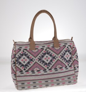 Elegantná kabelka z plátna Kbas s aztéckym vzorom sivá