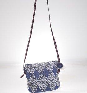 Oldaltáska vászonból Kbas azték mintázattal kék