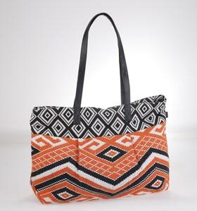 Plátená taška Kbas s aztéckym vzorom oranžovo-čierna