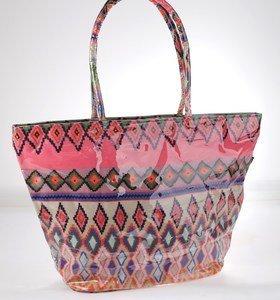Plátěná taška z nepromokavého materiálu Kbas s aztéckým vzorem oranžová