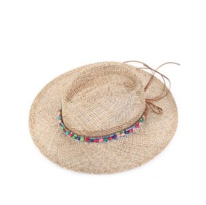 Slaměný klobouk Indiana s korálky Kbas KB064906