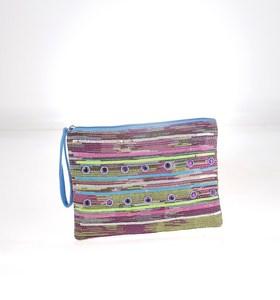 Listová kabelka z plátna Kbas farebná s flitrami