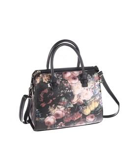 Elegantná kabelka z eko kože Kbas s kvetinovým motívom