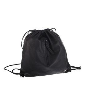 Dámsky batoh Kbas so špagetovými ramienkami z eko kože čierny