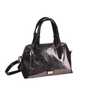 Metalická elegantná kabelka z eko kože Kbas hnedá