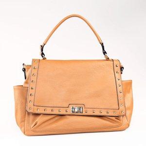 Elegantní kabelka z nepromokavého materiálu Kbas i s jednou rukojetí a kovovým zdobením měděná 325505CU